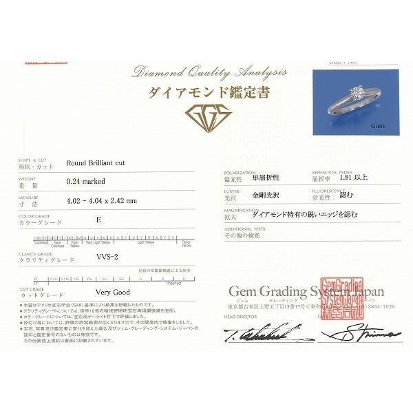 リング カルティエ PT950 7号 ダイヤ 0.24 VVS2 鑑定書 箱