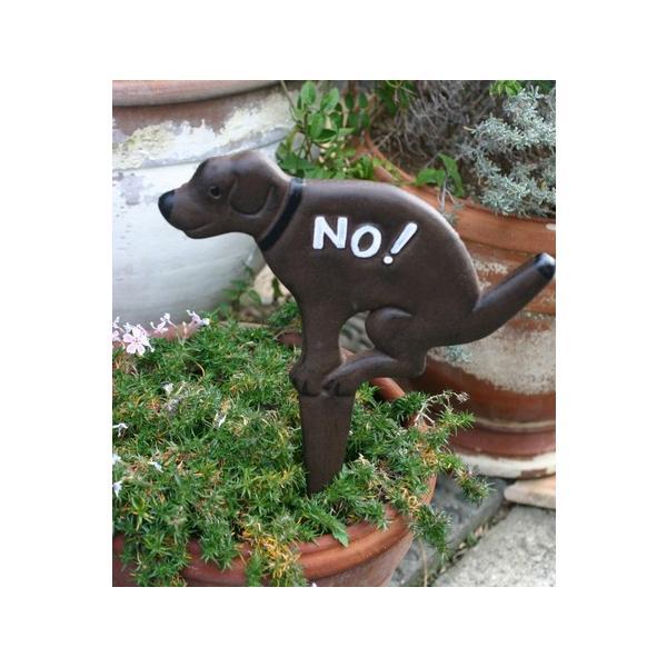 ガーデニング雑貨 サインプレート 注意看板 アイアン犬のプレート|wood-itsuki