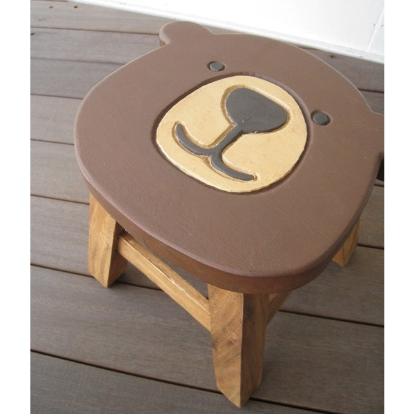 e5f4da250bef4 ... クマシェイプ スツール キッズチェア 木製 子供用椅子 かわいい プレゼント