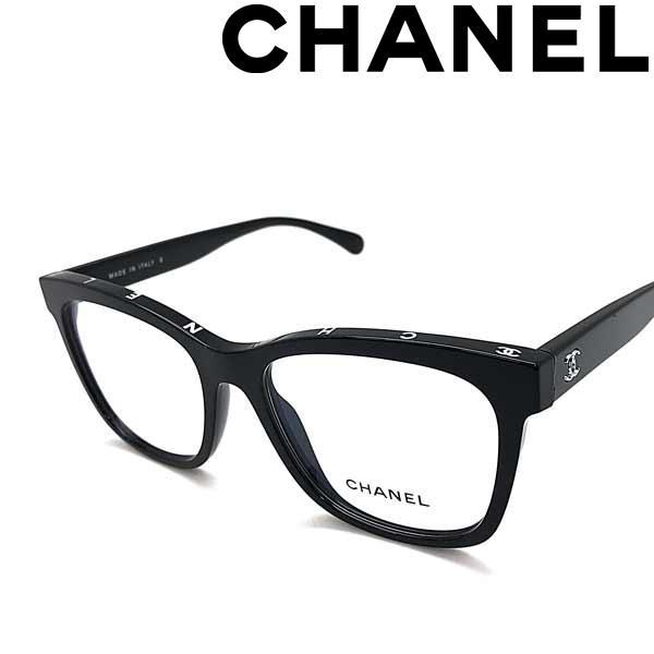 CHANEL メガネフレーム フロント上側面にもロゴがあるお洒落デザイン!ブランド シャネル レディース ブラック 眼鏡 0CH-3392-C501
