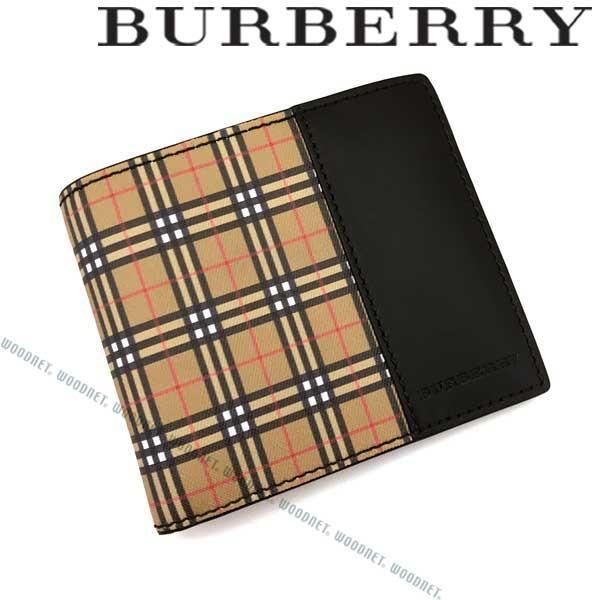 a91ec18eecb4 BURBERRY バーバリー 2つ折り財布 型押しレザー ブラック×チェック柄 4078054の画像