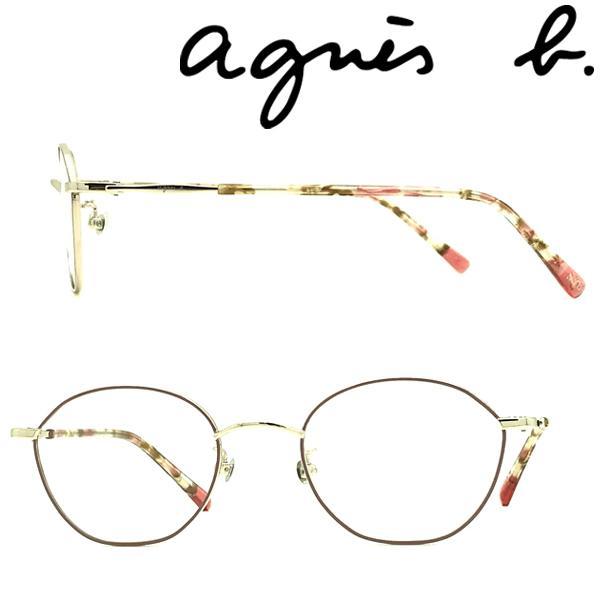 agnes b. アニエスベー ライトゴールド×ピンクベージュ メガネフレーム ブランド  眼鏡 AB-50-0072-01