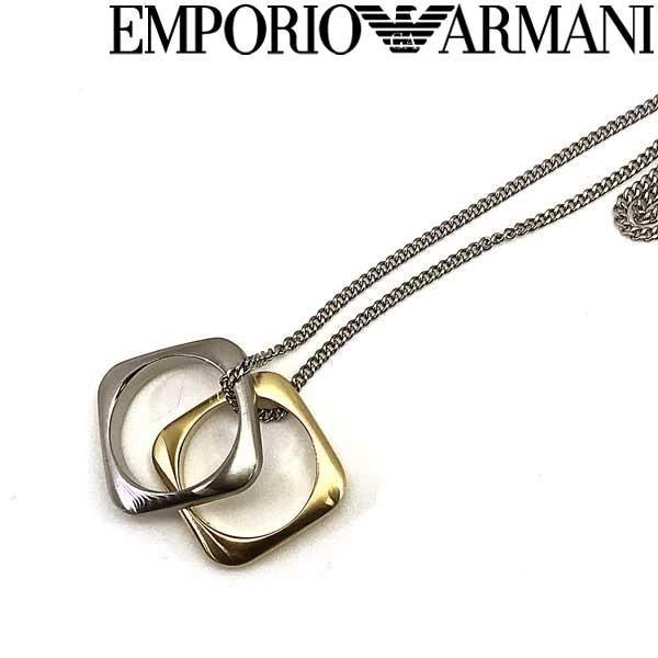 EMPORIO ARMANI ネックレス ブランド マットシルバー×マットゴールド スクエア型リングチャーム EGS2709040