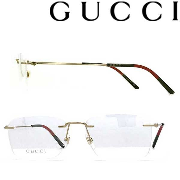 GUCCI グッチ ゴールド 縁無し メガネフレーム ブランド 眼鏡 2pt GUC-GG-0399O-002