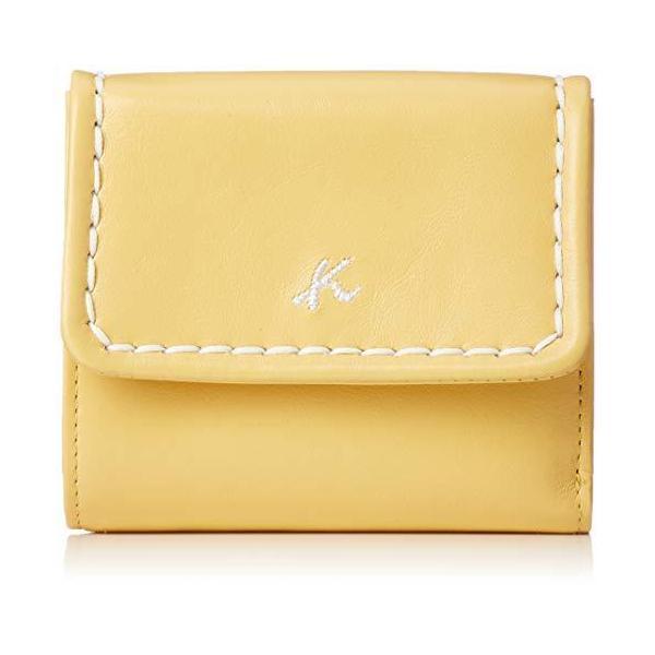 キタムラ 二折財布やわらかく手触りのよい牛革YH0036イエロー/ホワイトステッチ 黄色 40904