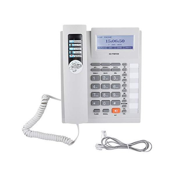 電話機Acoutoデジタルコード電話LCDディスプレイ付きスピーカーフォン付き大型ボタン固定電話有線電話ホ?