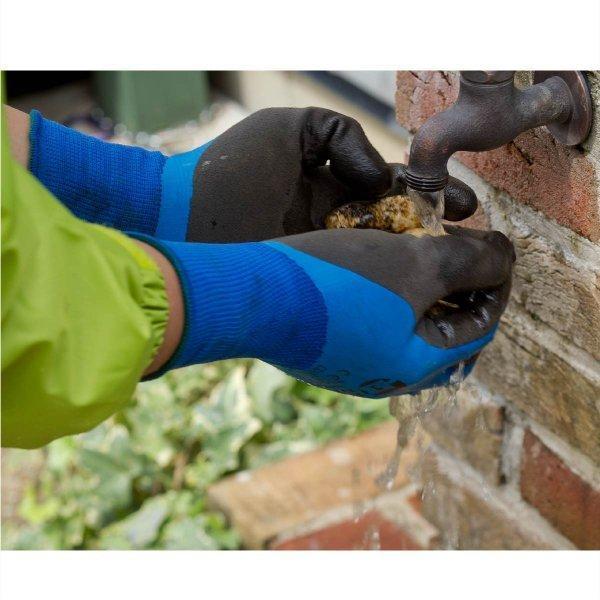 天然ゴム手袋 アクアガード 農業 漁業 清掃 建築 ブルー M/L  LKX301|workway|06