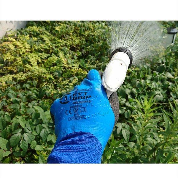 天然ゴム手袋 アクアガード 農業 漁業 清掃 建築 ブルー M/L  LKX301|workway|07