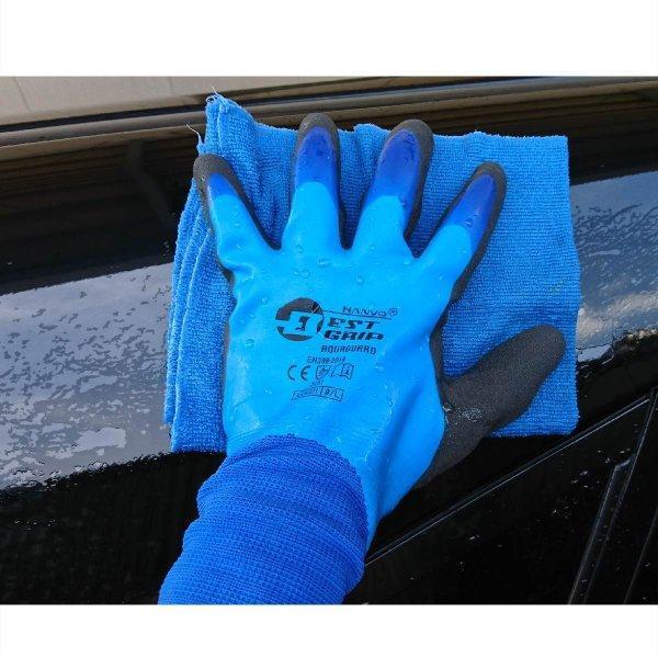 天然ゴム手袋 アクアガード 農業 漁業 清掃 建築 ブルー M/L  LKX301|workway|08