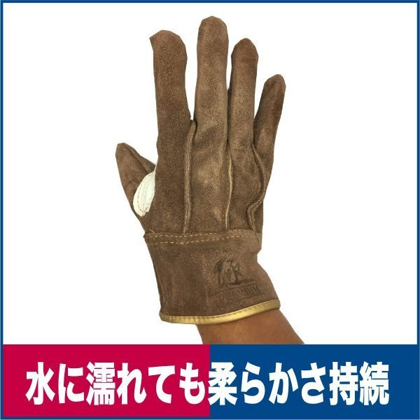 革手袋 ソフトオイル加工  牛床革 ブラウン M/L 革手工房 極|workway