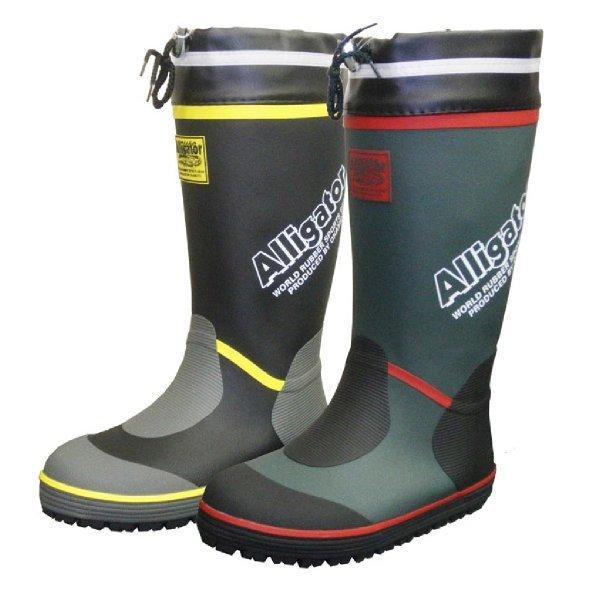 長靴 カバー付きゴムロングブーツ ブラック/グリーン オカモト化成品 RMM-7400|workway|02