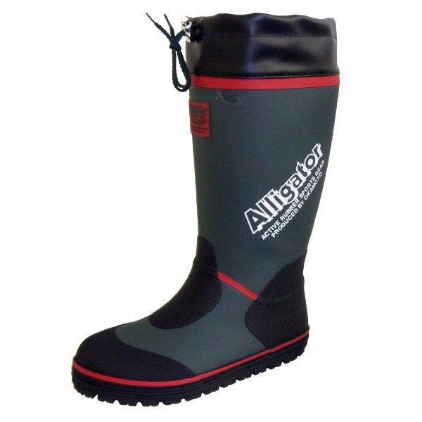 長靴 カバー付きゴムロングブーツ ブラック/グリーン オカモト化成品 RMM-7400|workway|04