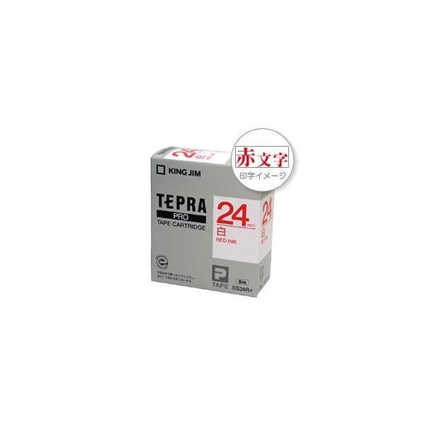 (まとめ) 「テプラ」PROシリーズテープ スタンダード 白に赤文字 24mm 〔×5セット〕