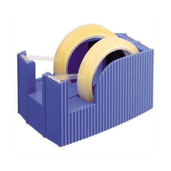 (まとめ) ライオン事務器 テープカッター(フリス)2連 太巻用 112×171×92mm ブルー TC-30 1台 〔×10セット〕