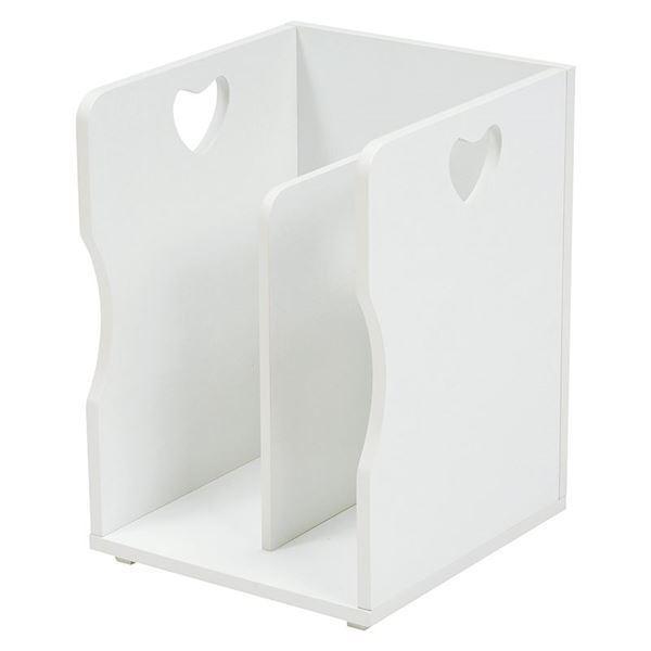 ブックスタンド/本立て 4個セット 〔ホワイト A4サイズ対応〕 幅24.5cm 木材 仕切り付 〔パソコンデスク 勉強机〕〔代引不可〕