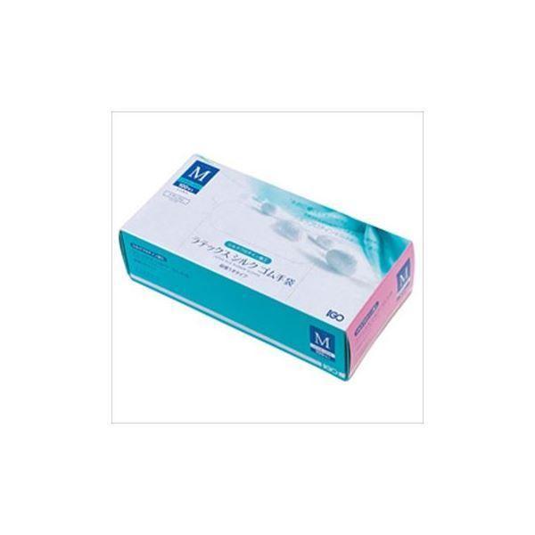 (まとめ)IGO ラテックスシルクゴム手袋 Mサイズ 1箱(100枚)〔×2セット〕