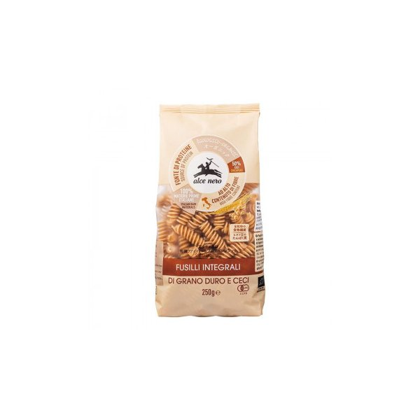 送料無料 アルチェネロ 有機ファイバー&プロテインフジッリ (全粒粉とヒヨコ豆) 250g 20個セット C6-46