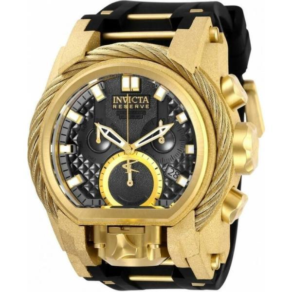 腕時計 インヴィクタ メンズ Invicta 爆買い送料無料 買い物 Reserve 26447 Men's Dual Silicone Chronograph Time Date Black Watch