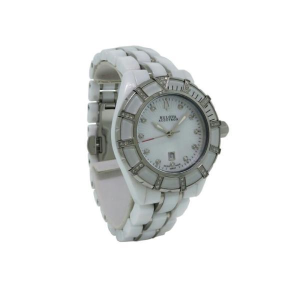 腕時計 ブローバ レディース Bulova Accutron 65R137 Women's いよいよ人気ブランド Analog Ceramic of Diamond 初売り Pearl Watch Mother Date