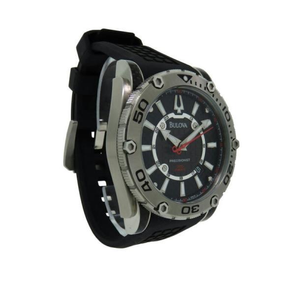 腕時計 ブローバ メンズ Bulova モデル着用&注目アイテム Precisionist 96B155 Men's 定番スタイル Analog Carbon Watch Round Date Silicone