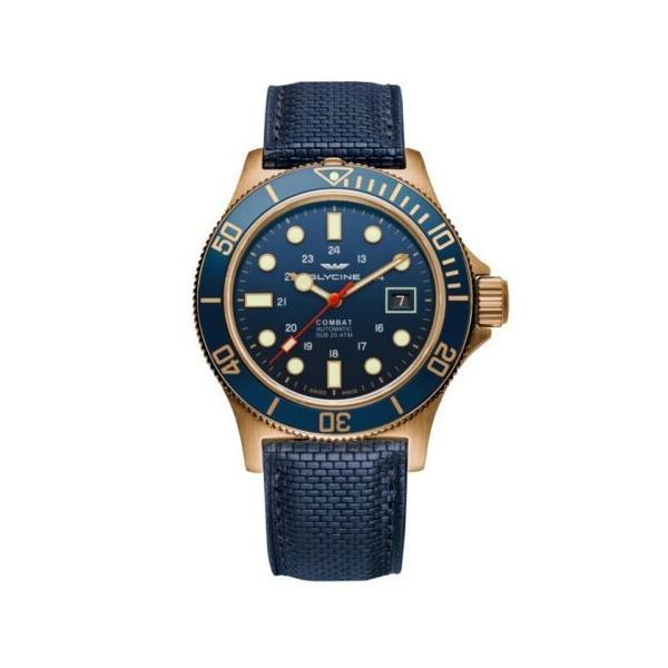 腕時計 グライシン メンズ Glycine Men's GL0174 Combat Sub Automatic 42 Bronze 爆買い送料無料 42mm Blue Watch メーカー公式 Dial