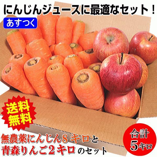 クール送料無料 無農薬人参3キロとりんご2キロ ジュース用セット合計5キロ 訳あり 送料無料