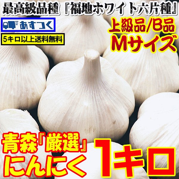 にんにく 青森 並級B品 Mサイズ 1kg 送料無料 国産 ニンニク B品1キロ 中国産と比べて