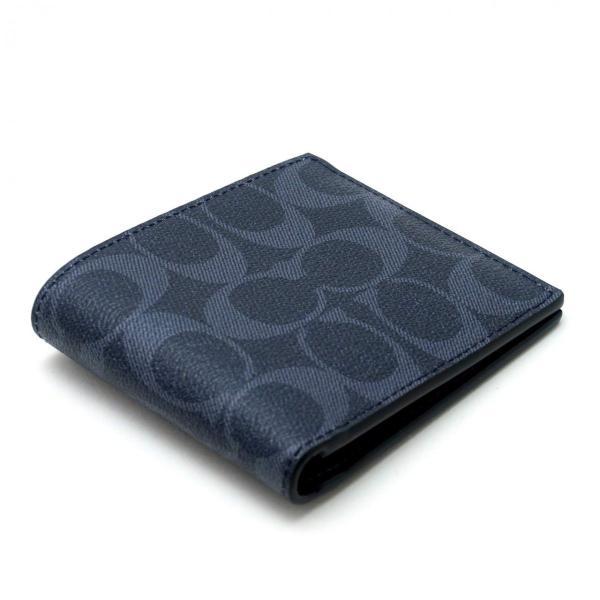 コーチ COACH メンズ 二つ折り財布 カードケース シグネチャー レザー 66551QBDEN アウトレット コーチギフトボックス付き|worlddrive|02