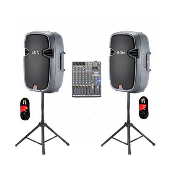 """JBL パワー 15"""" EON 315 DJ ラウドスピーカー ミキサー, スタンド and ケーブルセット"""