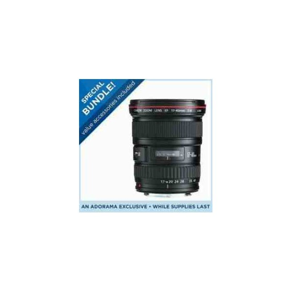 Canon EF 17-40mm f/4L USM Ultra Wide Angle Zoom Lens with Case and Lens Hood - USA - Special Prom
