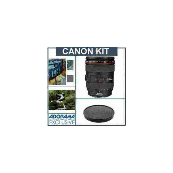 Canon EF 24-105mm f/4L IS USM Lens - U.S.A. Warranty - Advanced Kit - with B + W 77mm #102 0.6(4x