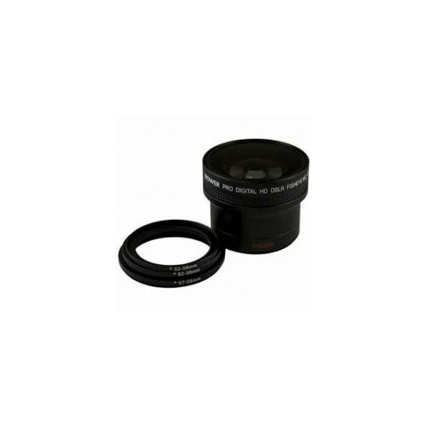 Bower 0.16x58mm Super Wide Fisheye Lens with 52-58mm, 62-58mm and 67-58mm Adapters Rings, Black