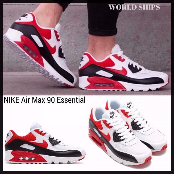 エアマックス 90 エッセンシャル ナイキ スニーカー Nike Air Max 90 Essential ウルフグレー/ユニバーシティーレッド【海外限定・正規品】|worldships