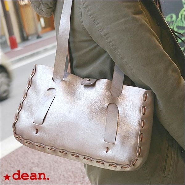 dean(ディーン) small whip stitched tote トートバッグ シルバー