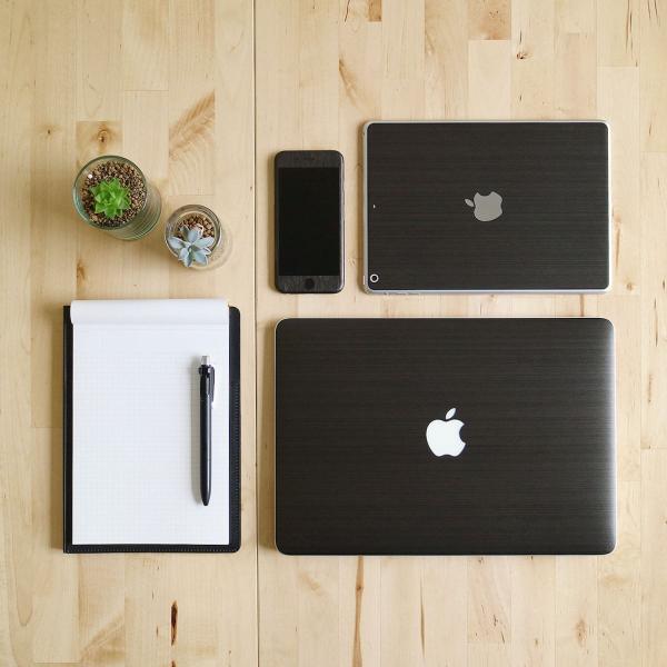 Macbook Air 13インチ スキンシール ケース カバー ステッカー フィルム wraplus 選べる31色 ブラックブラッシュメタル|wraplus|02