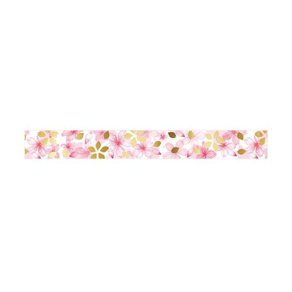 マスキングテープ  包む 金箔押し フルールシリーズ 桜の花 M-0170 15mm×5m