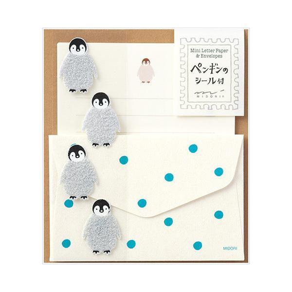 レターセット midori ミドリ ミニレターセット シール付 ペンギン柄 86304006