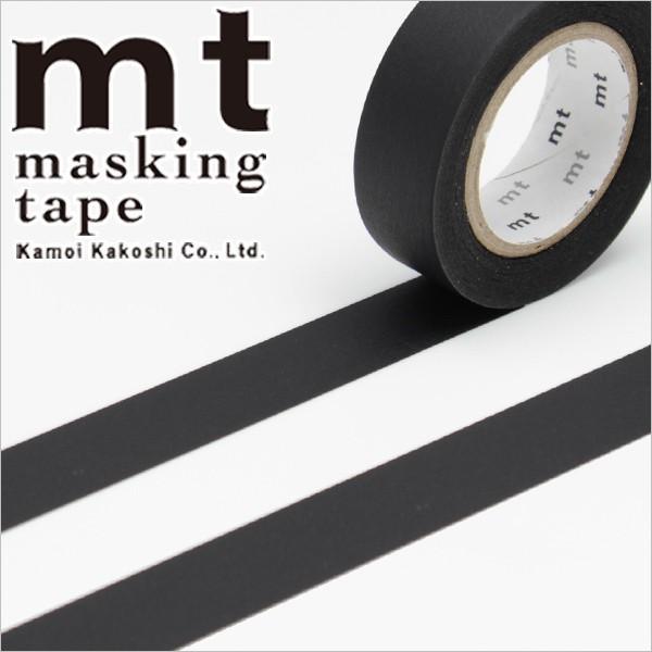 RoomClip商品情報 - マスキングテープ マステ mt カモ井加工紙 mt1P 無地 マットブラック 15mmx10m MT01P207・1巻 ネコポス対応