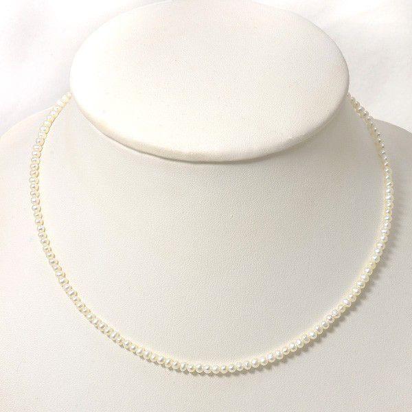 淡水真珠パ−ルネックレスホワイト系2.5-3.0mmA〜BBポテト引き輪(silver) n3