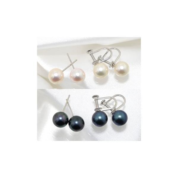 アコヤ真珠 パールピアス K14WG K18 チタン /イヤリング シルバー  ホワイト系/グリーン系 7.0-7.5mm [n2][ロングセラー] 初めての真珠 おすすめ|wsp|03