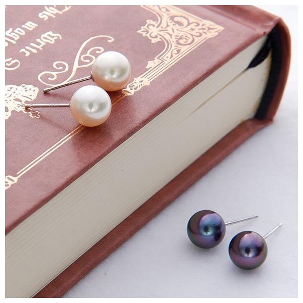 アコヤ真珠 パールピアス K14WG K18 チタン /イヤリング シルバー  ホワイト系/グリーン系 7.0-7.5mm [n2][ロングセラー] 初めての真珠 おすすめ|wsp|05