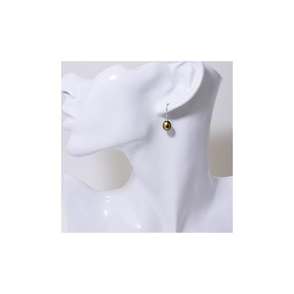 淡水真珠 アメリカン/フックパールピアス メタリックカーキグリーン系 7.5-8.0mm AA〜B  K14WG/K18YG  [n2]