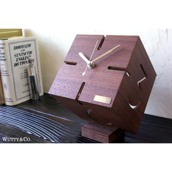 置時計 ウッド PUZZLE BR ウォールナット (おしゃれ 置き時計)|wutty