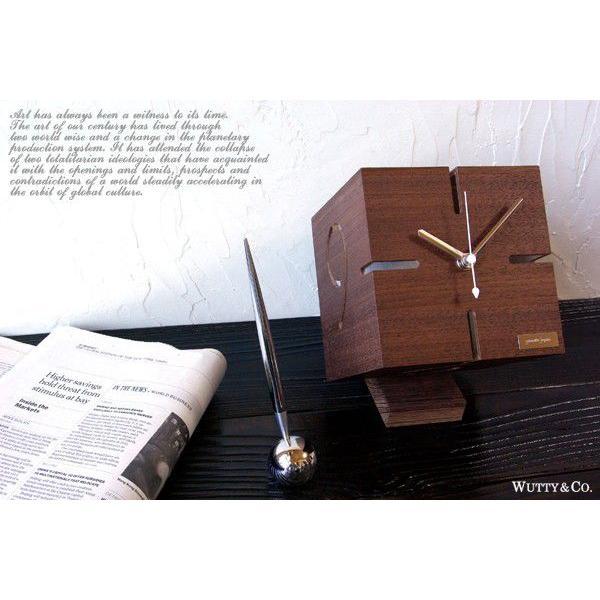 置時計 ウッド PUZZLE BR ウォールナット (おしゃれ 置き時計)|wutty|02