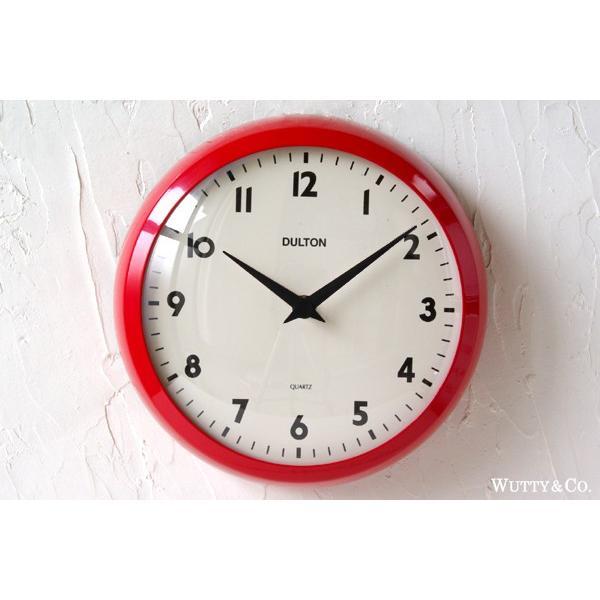 掛け時計 ラウンド DULTON RED (おしゃれ 掛時計)|wutty