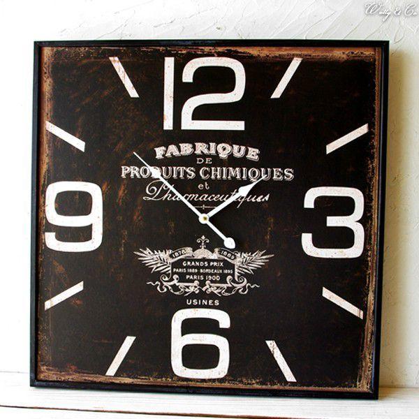 掛け時計  Square60 Black (おしゃれ 掛時計 WALLCLOCK) wutty