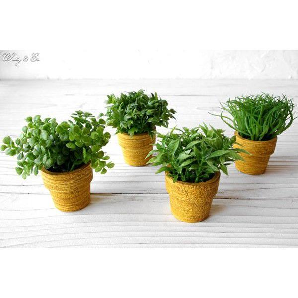 フェイクグリーン MiniGrassPot 4点セット (人工観葉植物) wutty