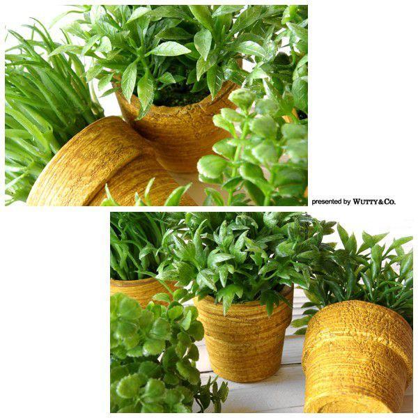 フェイクグリーン MiniGrassPot 4点セット (人工観葉植物) wutty 02