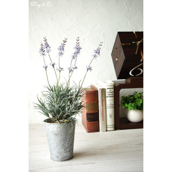 人工観葉植物 ラベンダー ブリキ鉢 ( おしゃれ フェイクグリーン 人工樹木 小型 リアル オブジェ インテリア )|wutty|05
