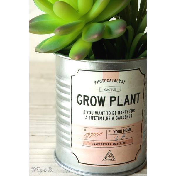 フェイクグリーン Tin Succulent Pink Label ブリキ鉢 光触媒加工 ( 多肉植物 人工観葉植物 サボテン イミテーショングリーン )|wutty|02